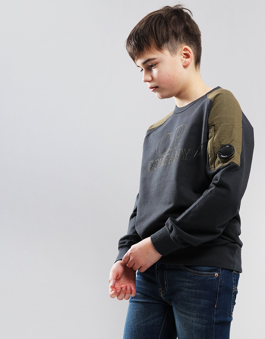 C.P. Company Kids Stitched Logo Sweat Raven Grey