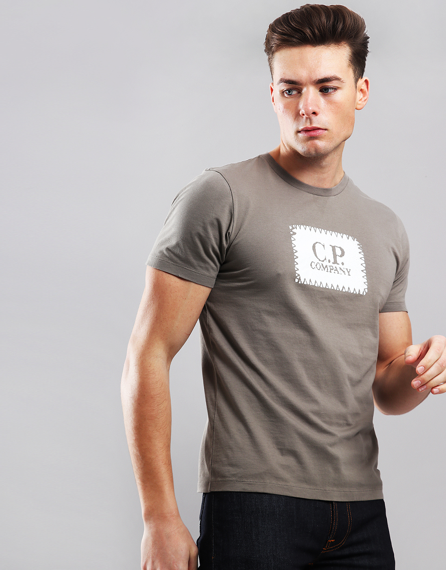 C.P. Company Patch Logo T-Shirt Brindle Grey