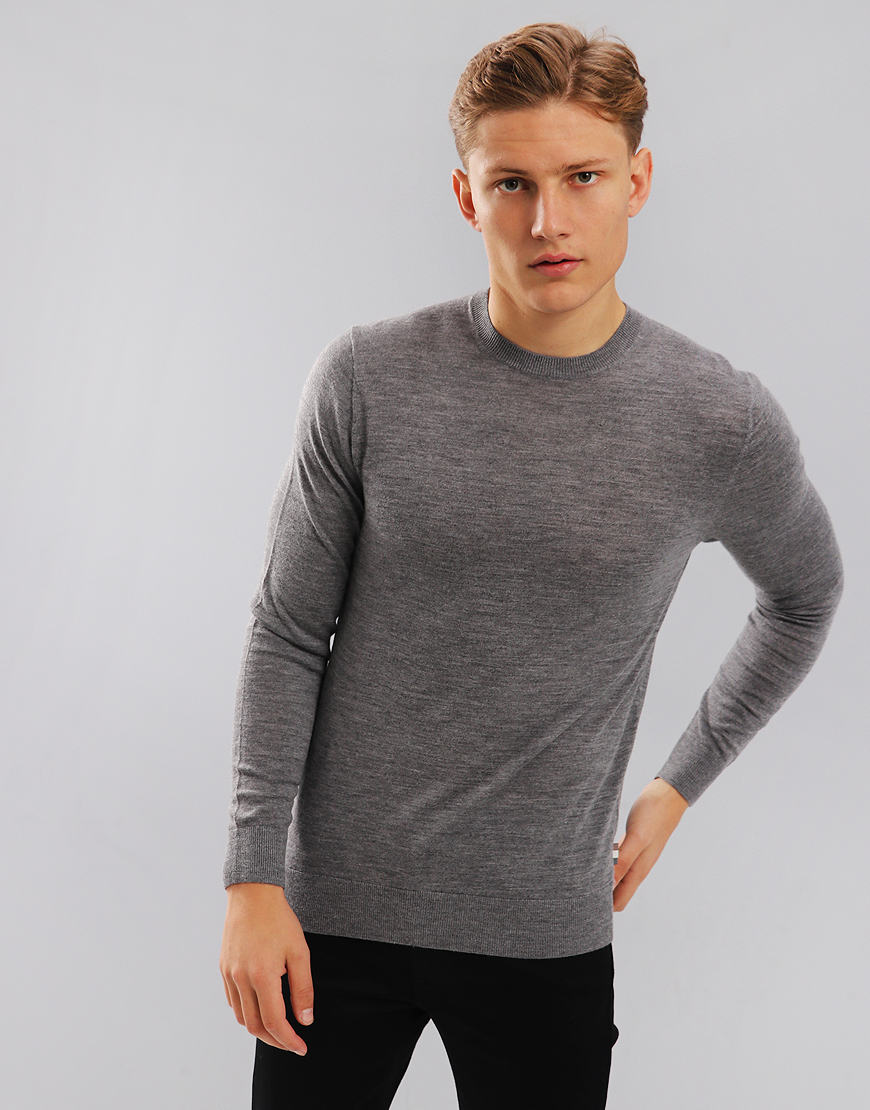 Aquascutum Carston Merino Crew Knit Jumper Grey