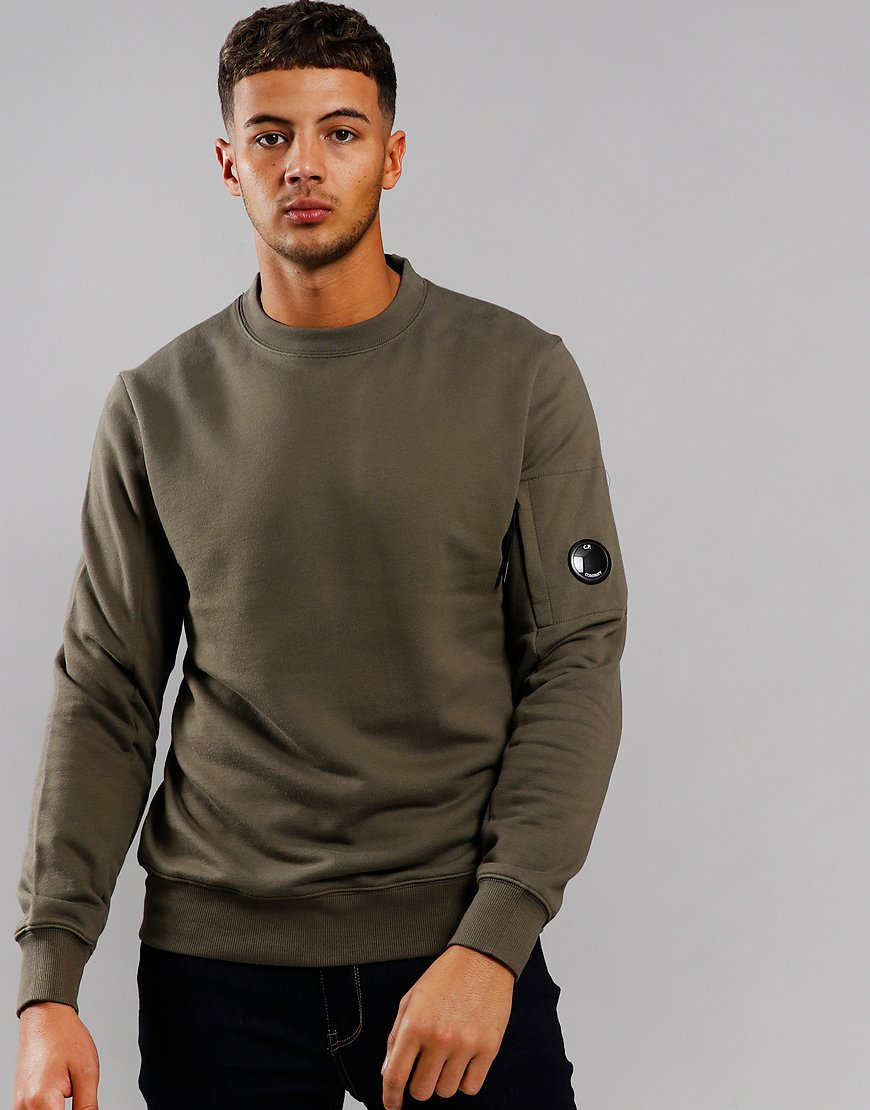 C.P. Company Arm Lens Crew Sweat Dusty Olive
