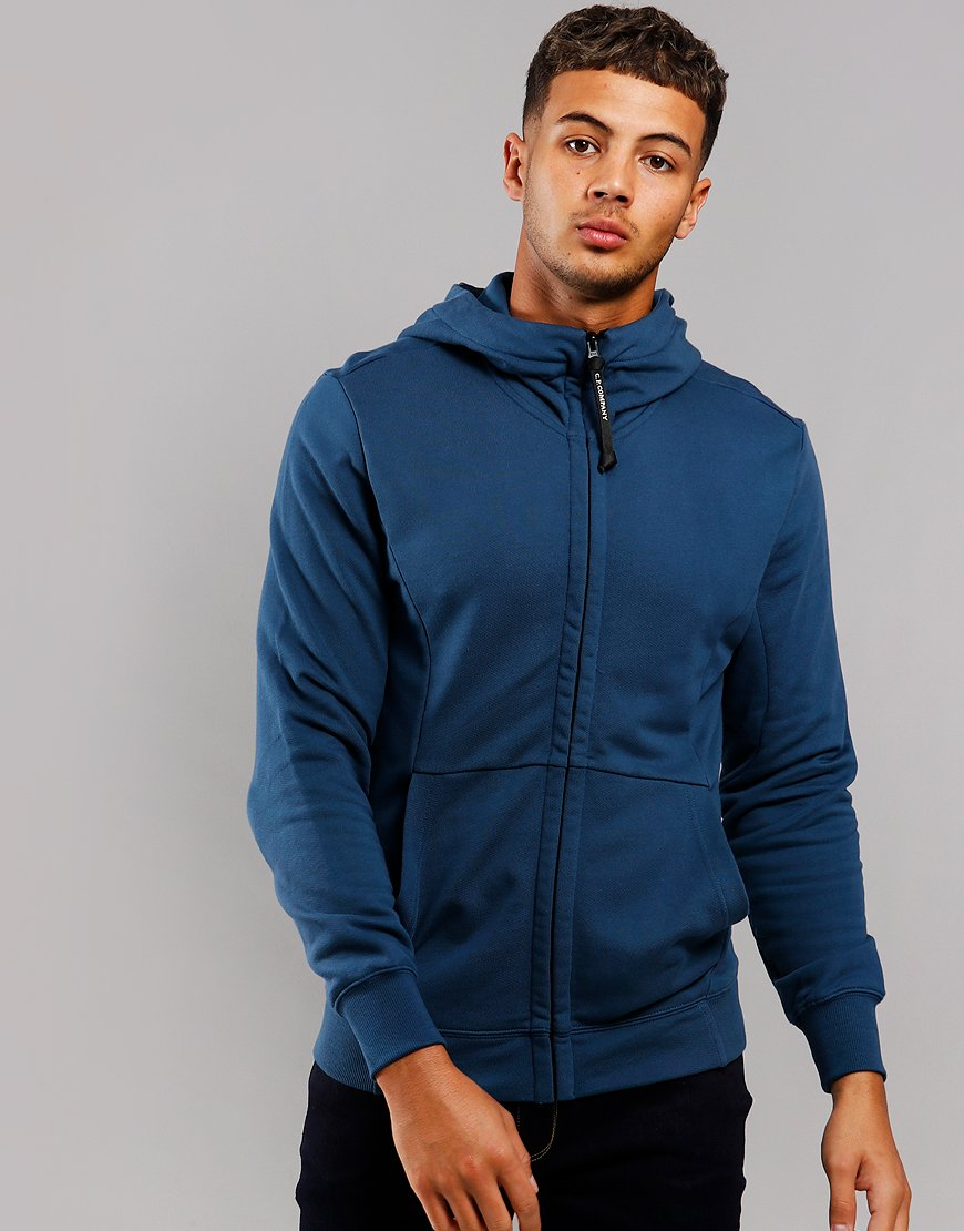 C.P Company Fleece Goggle Zip Hoodie Dark Denim