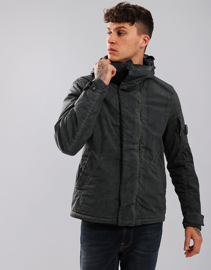 C.P. Company Hooded Garment Dyed Lens Jacket Black Coffee