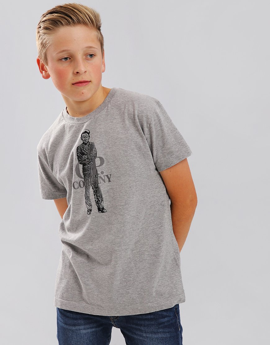 C.P. Company Kids Sailor Print Mako Cotton T-Shirt Grey Melange