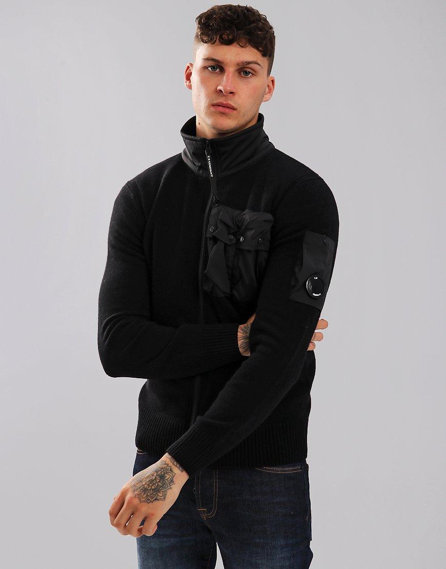 C.P. Company Nylon Pocket Full Zip Knit Black