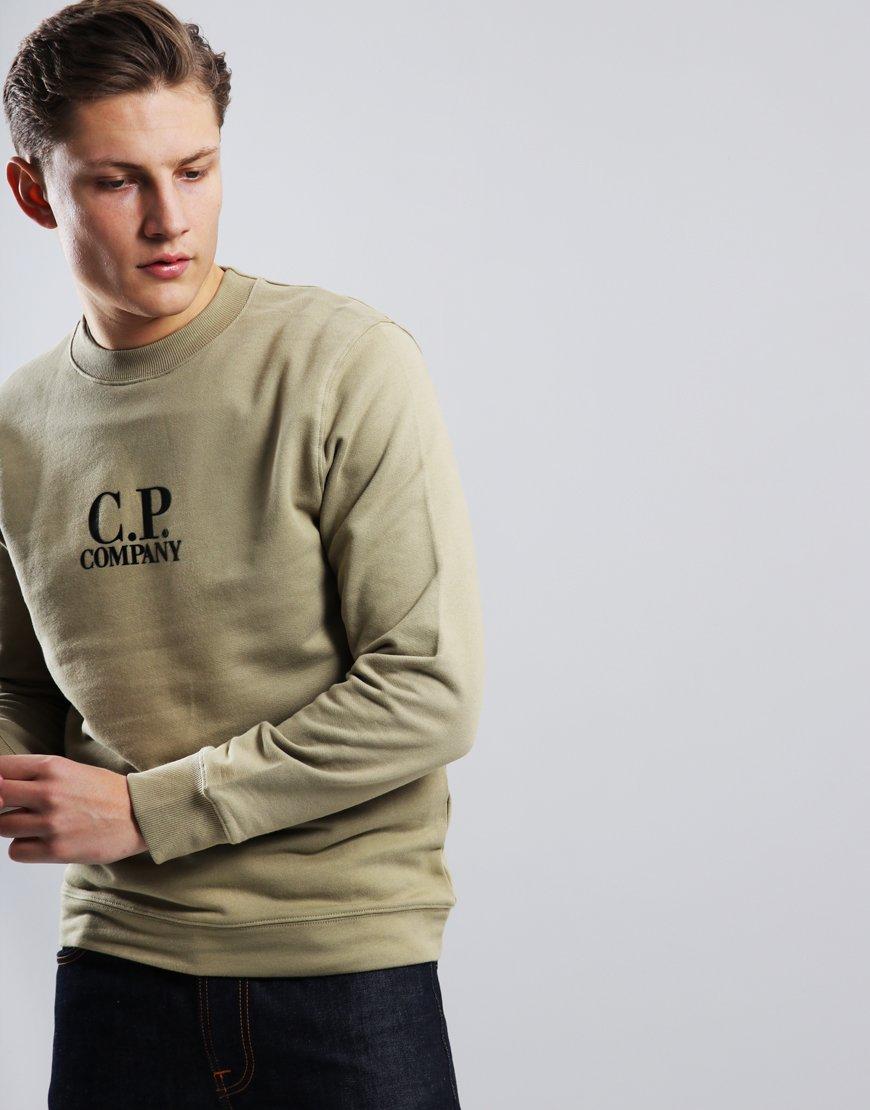 C.P. Company Diagonal Fleece Logo Sweat Kelp