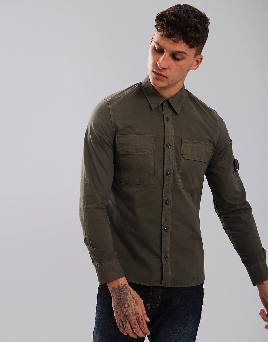 C.P. Company Garment Dyed Gaberdine Lens Sleeve Shirt Dark Olive