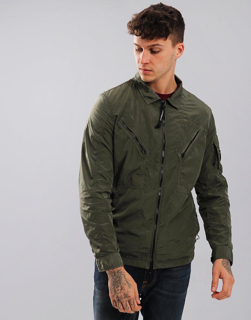 C.P. Company Chrome Garment Dyed Utility Zip Overshirt Sage