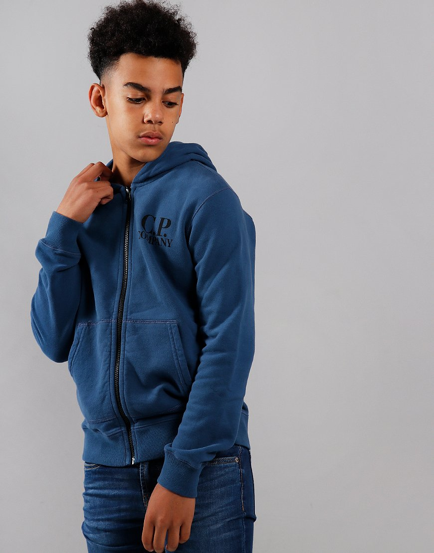 C.P. Company Kids Goggle Hooded Zip Sweat Dark Denim
