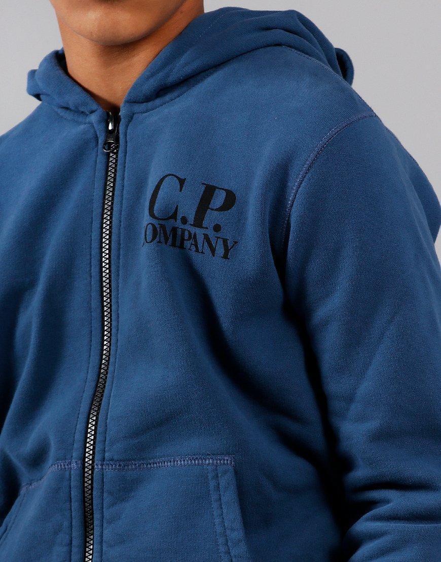 C.P. Company Kids Goggle Hooded Zip Sweat Dark Denim