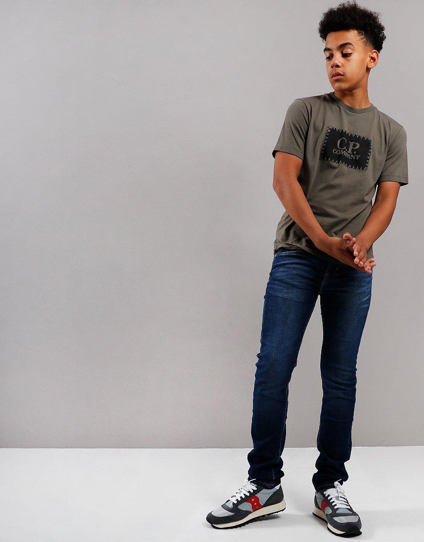 C.P. Company Kids Label Print T-Shirt Dusty Olive