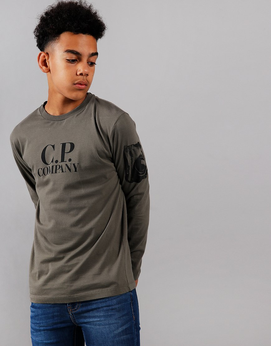 C.P. Company Kids Logo Print Long Sleeve T-Shirt Dusty Olive