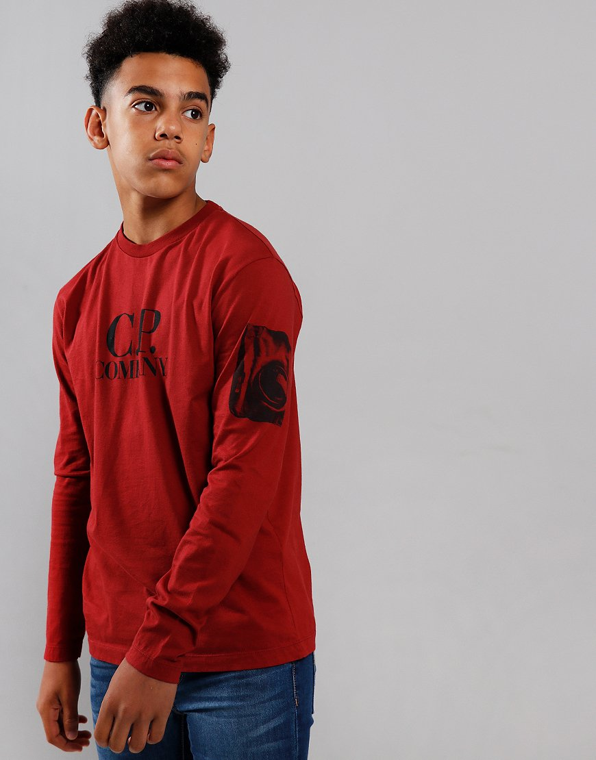 C.P. Company Kids Logo Print Long Sleeve T-Shirt Scooter