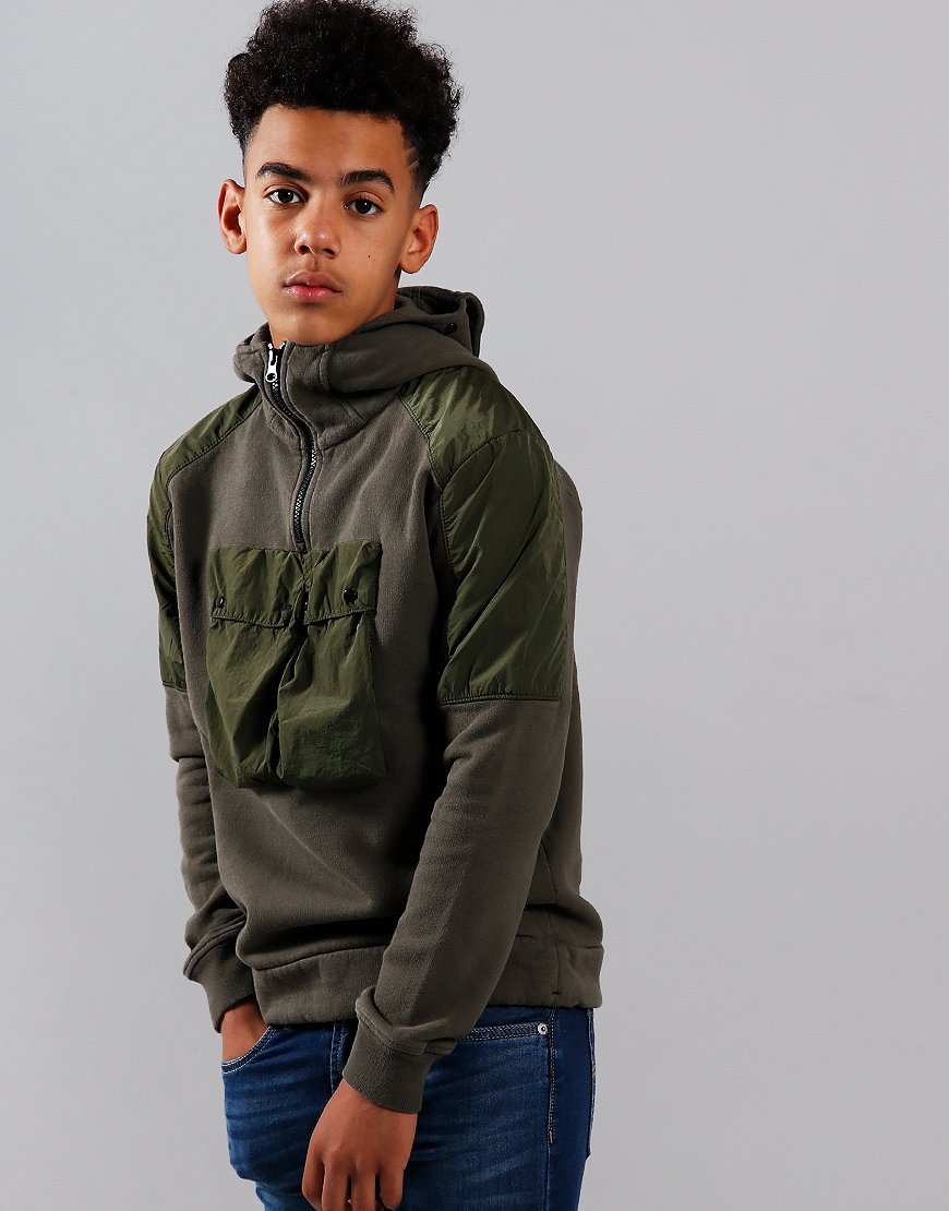 C.P. Company Kids Contrast Hooded Goggle Zip Sweat Dusty Olive