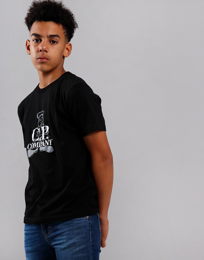 C.P. Company Kids Sailor Print Embroidered T-Shirt Black
