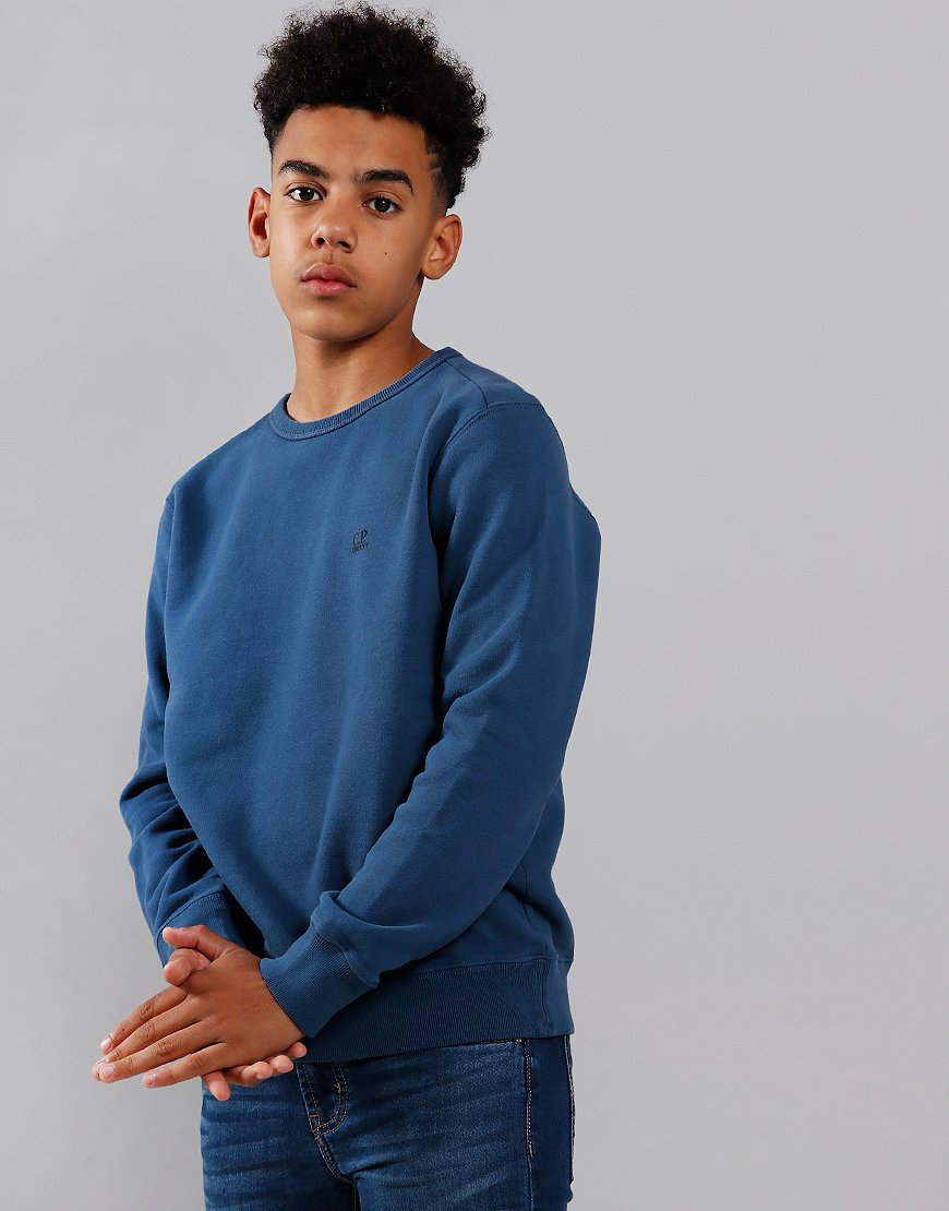C.P. Company Kids Logo Print Crew Neck Sweat Dark Denim