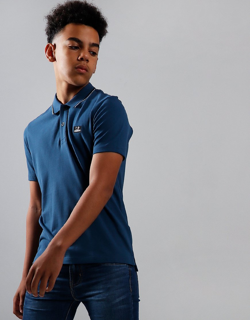C.P. Company Kids Tipped Polo Shirt Dark Denim