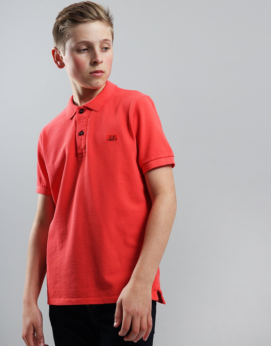 C.P. Company Kids Cotton Piqué Polo Shirt High Risk Red