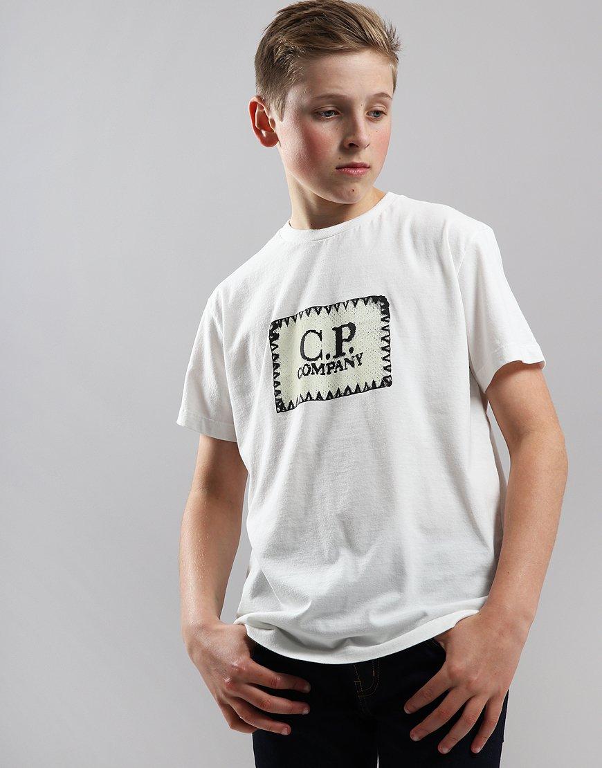 C.P. Company Kids Jersey Label Print T-Shirt Gauze White