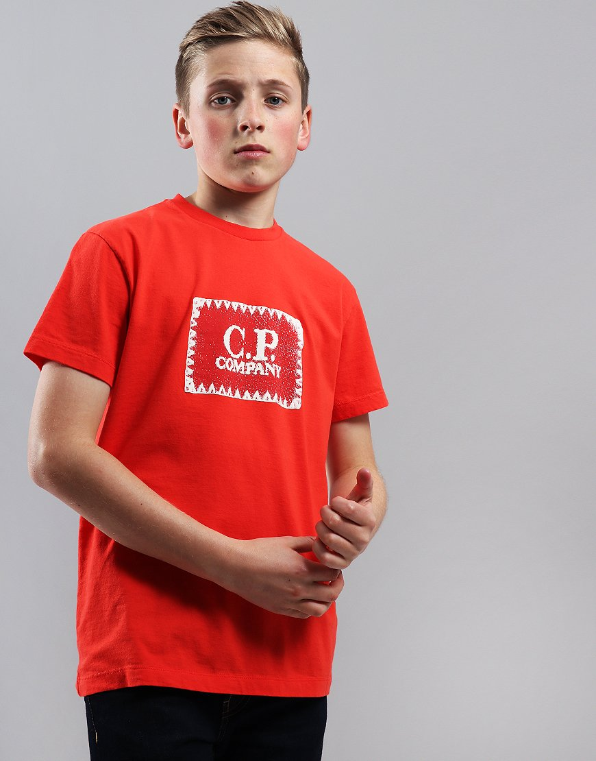 C.P. Company Kids Jersey Label Print T-Shirt High Risk Red