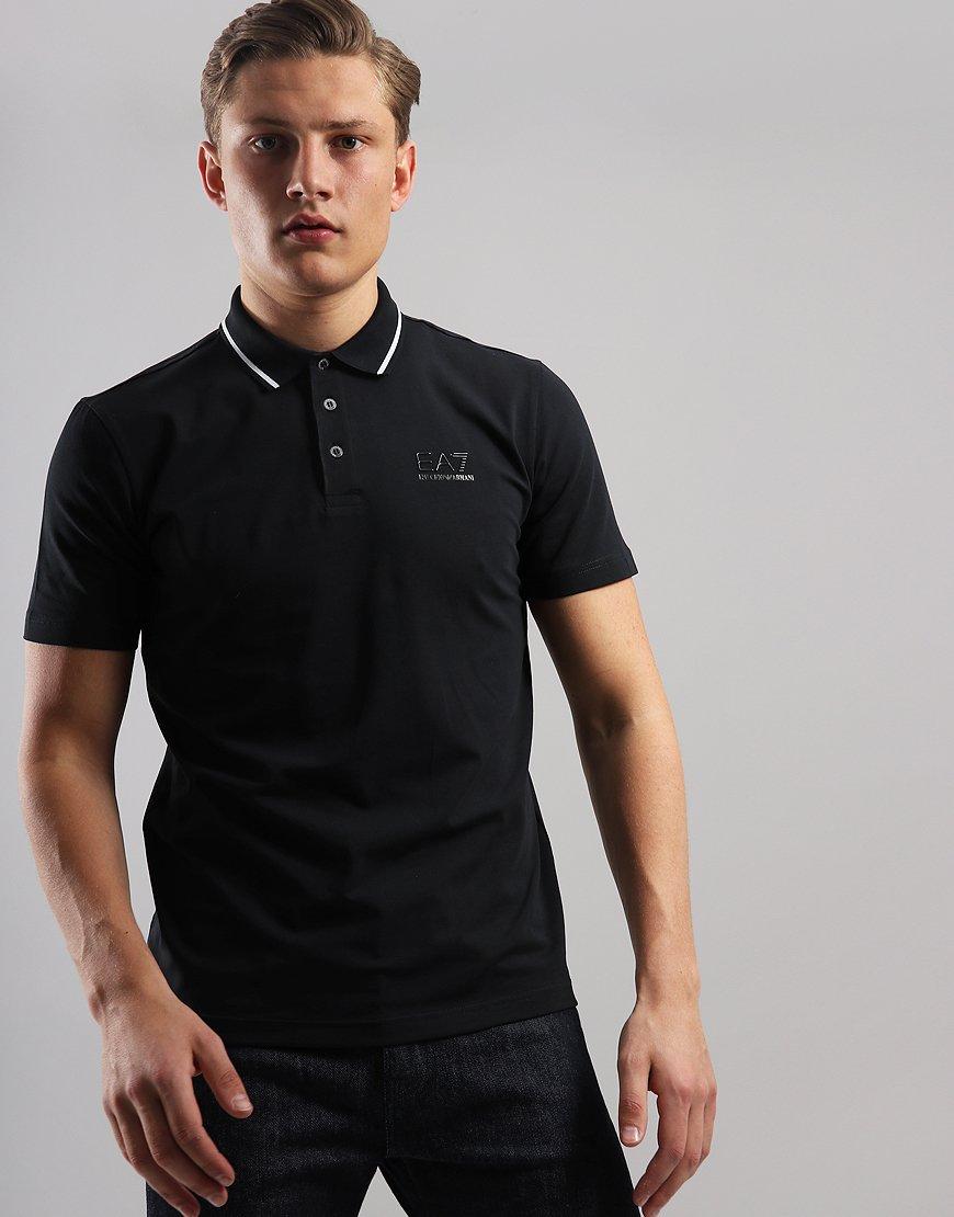 6ddb6bf7 EA7 Tipped Collar Polo Shirt Black - Terraces Menswear