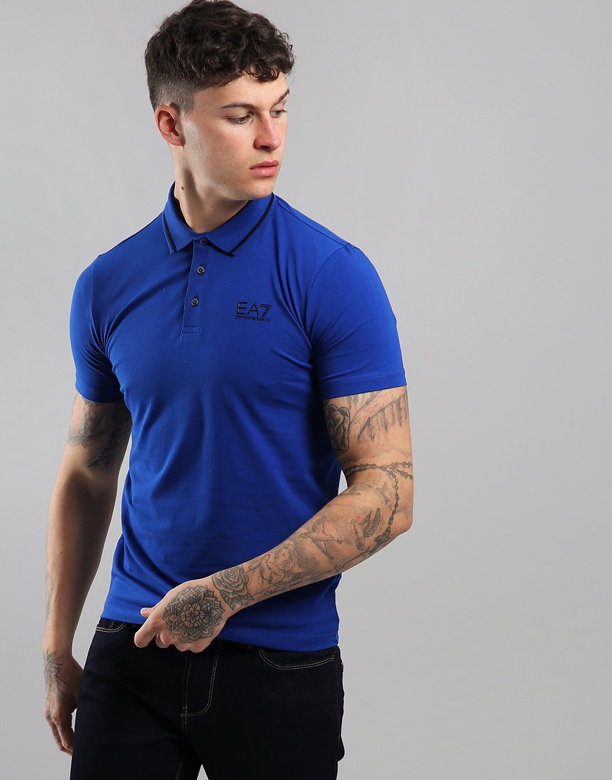 EA7 Tipped Collar Polo Shirt Surf