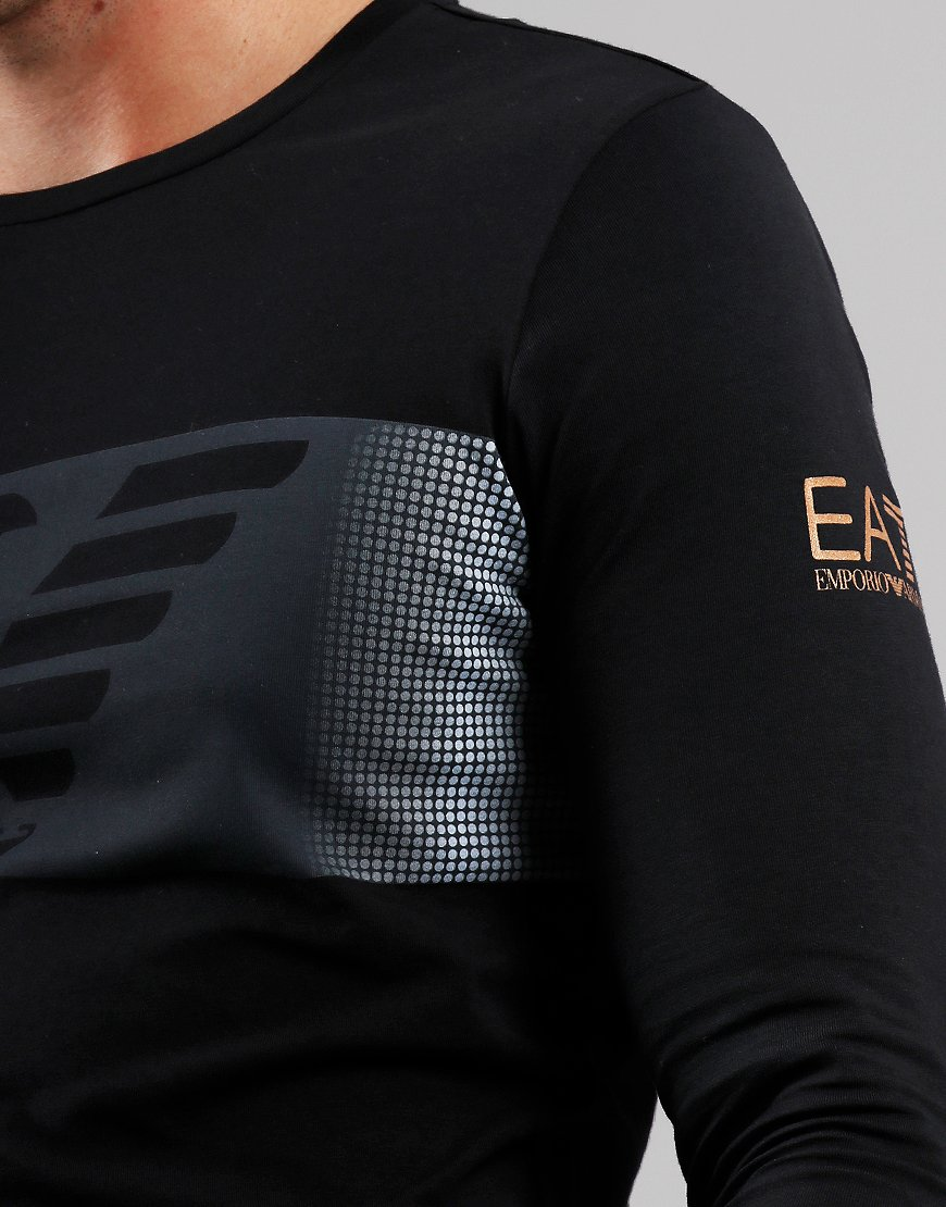 EA7 Block Logo Long Sleeve T-Shirt Black