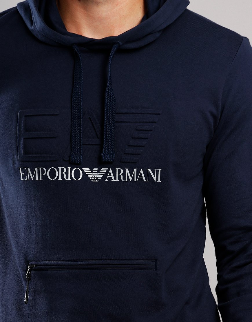 EA7 Emboss Overhead Hooded Sweat Navy