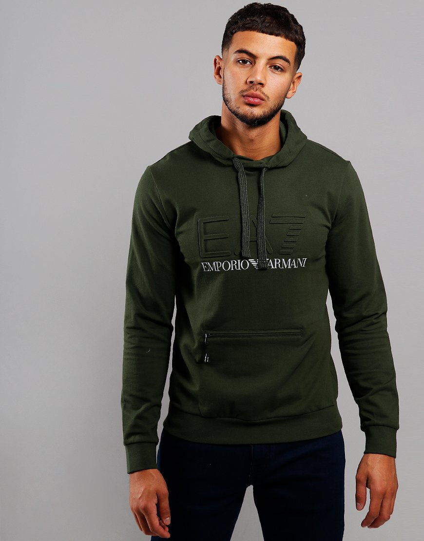 EA7 Emboss Overhead Hooded Sweat Forest Night
