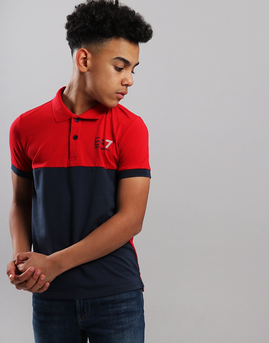 EA7 Emporio Armani Junior Colour Block Polo Shirt Tango Red