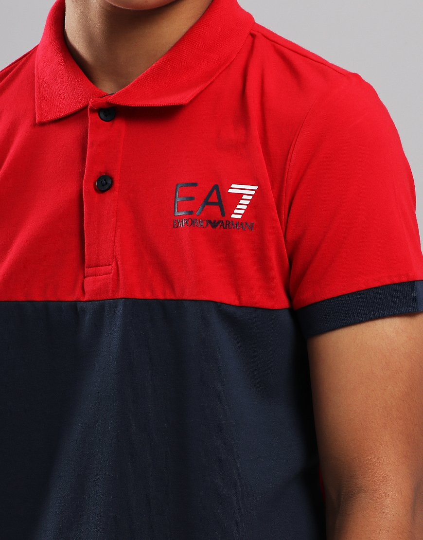 5e8e7a4ecd EA7 Emporio Armani Junior Colour Block Polo Shirt Tango Red