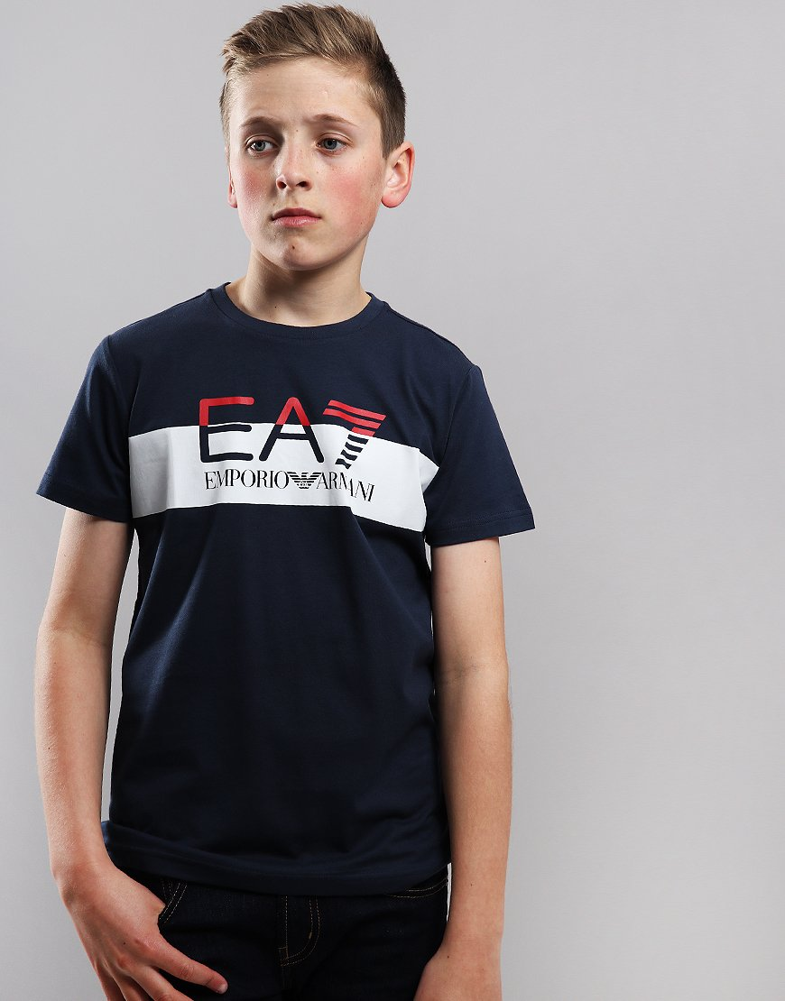 EA7 Emporio Armani Junior Block Logo T-Shirt Navy