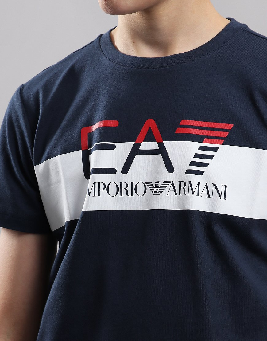 e086272c EA7 Emporio Armani Junior Block Logo T-Shirt Navy - Terraces Menswear