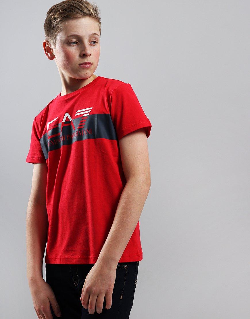 EA7 Emporio Armani Junior Block Logo T-Shirt Tango Red