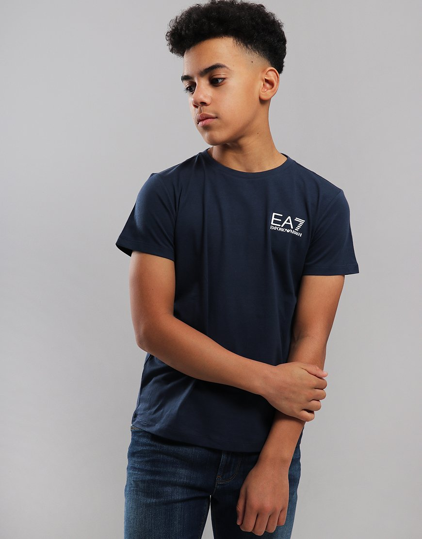 EA7 Emporio Armani Junior Chest Logo T-Shirt Navy