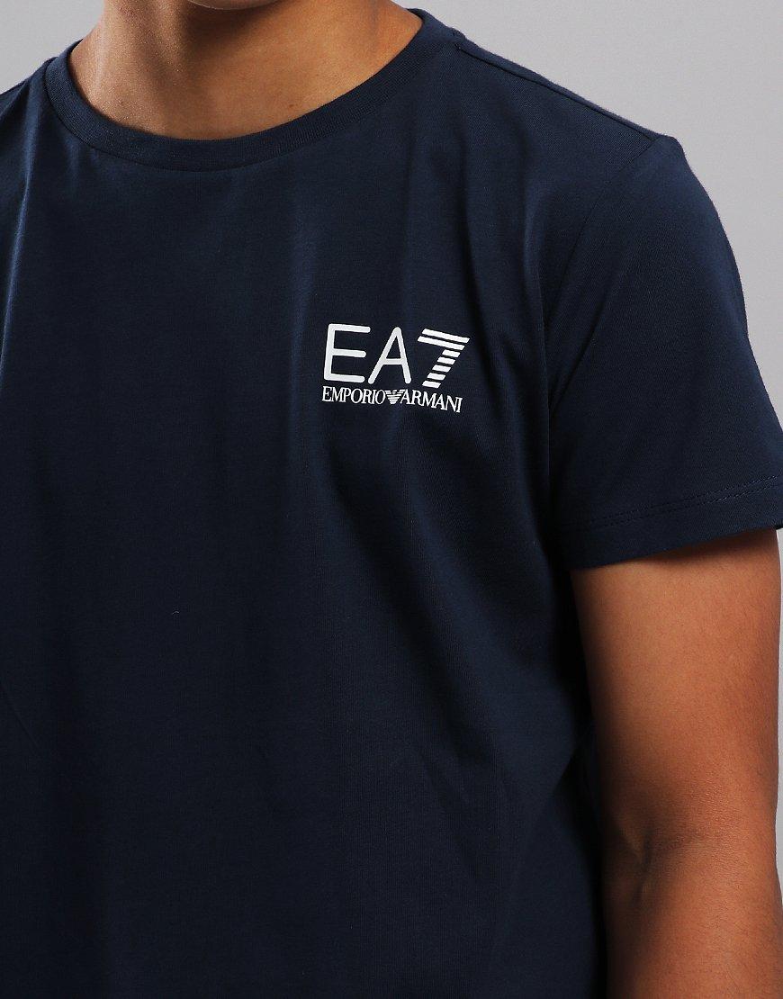 593d8985 EA7 Emporio Armani Junior Chest Logo T-Shirt Navy - Terraces Menswear