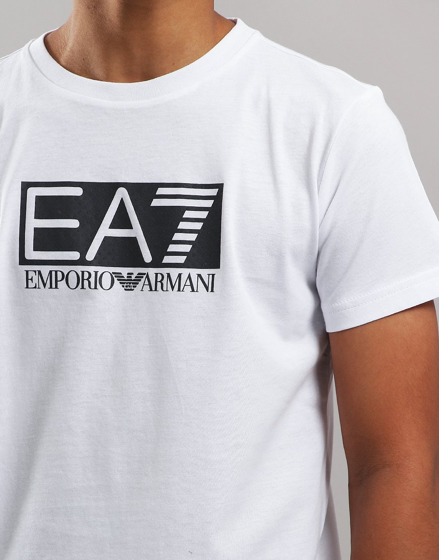 234410c7 EA7 Emporio Armani Junior Chest Patch T-Shirt White - Terraces Menswear