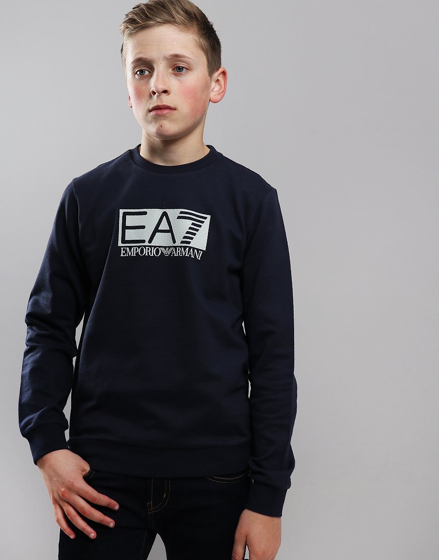 EA7 Emporio Armani Junior Print Logo Crew Neck Sweat Navy