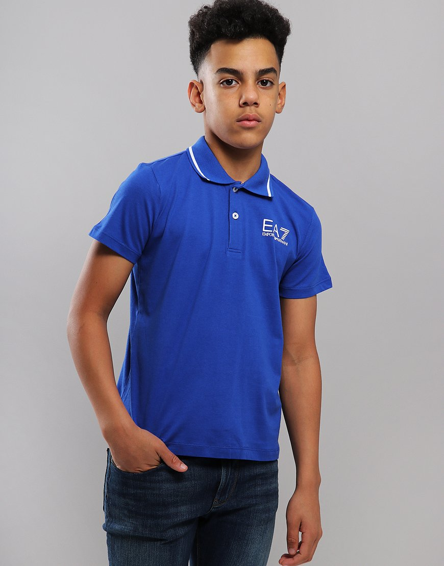 EA7 Emporio Armani Junior Tipped Polo Shirt Surf