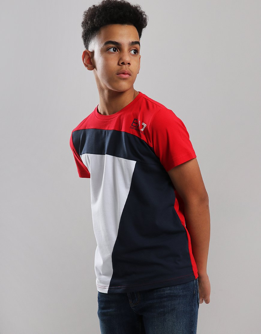 EA7 Emporio Armani Junior Tri Colour T-Shirt Tango Red