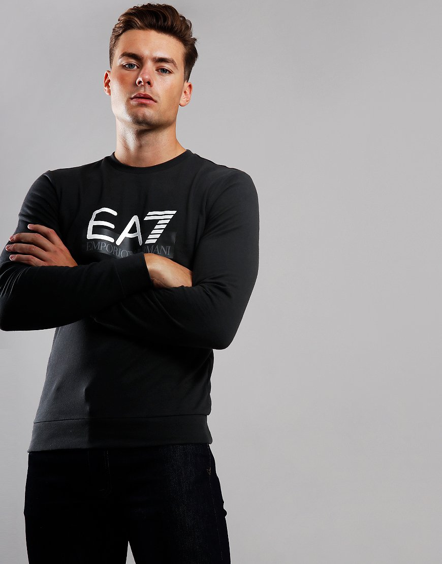 EA7 Large Logo Crew Sweat Black