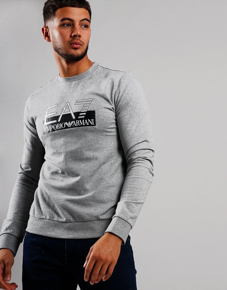 EA7 Large Logo Crew Sweat Medium Grey Melange