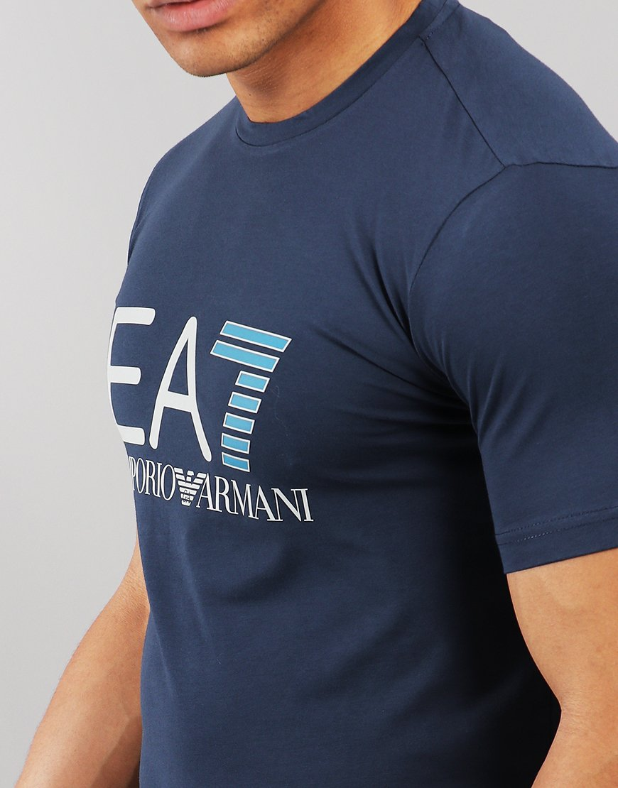 2408038d5765 EA7 Large Logo T-shirt Navy - Terraces Menswear