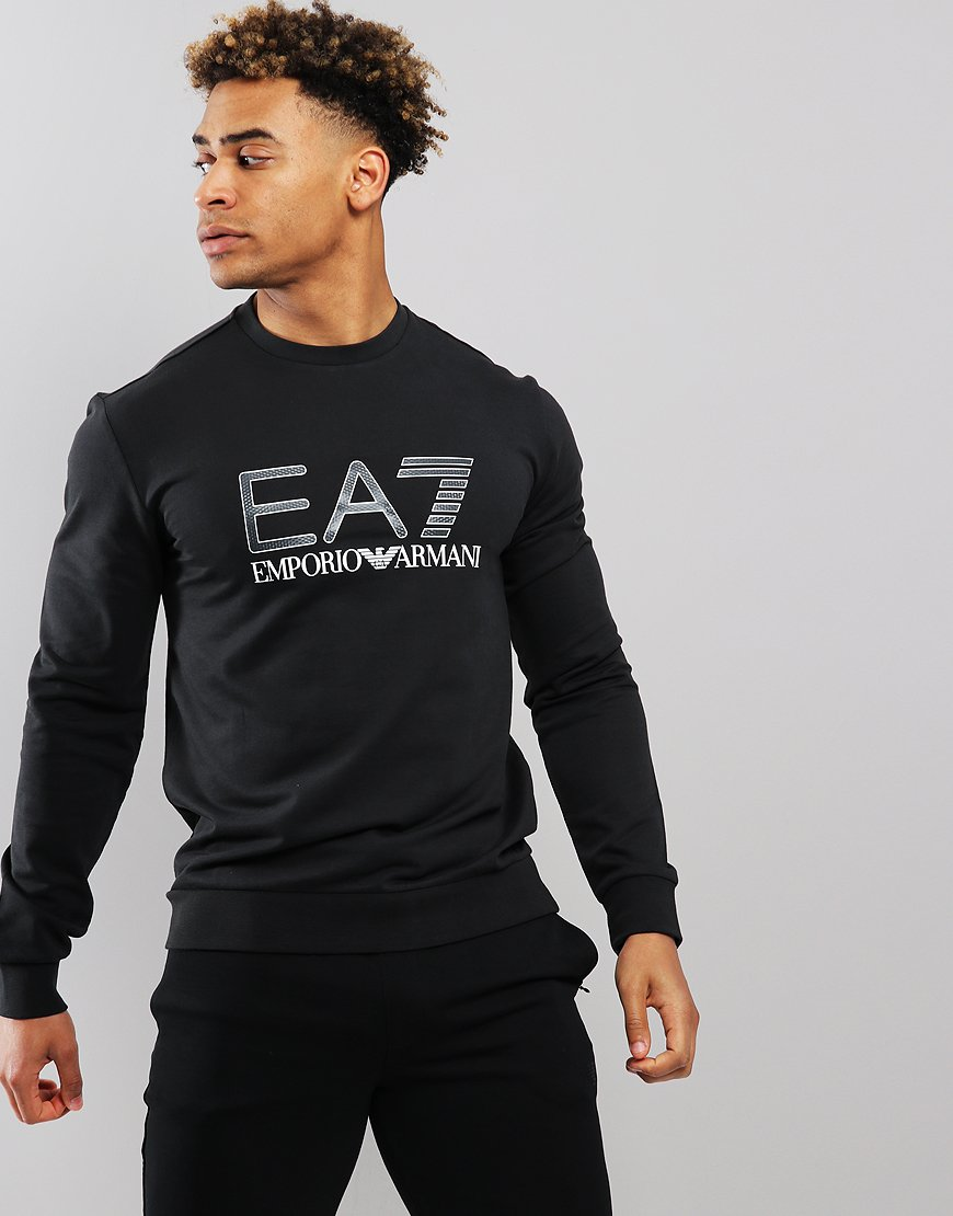 6707a33cfc30 EA7 Large Logo Sweat Black - Terraces Menswear