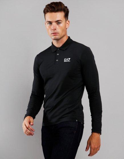EA7 Long Sleeve Polo Shirt Black