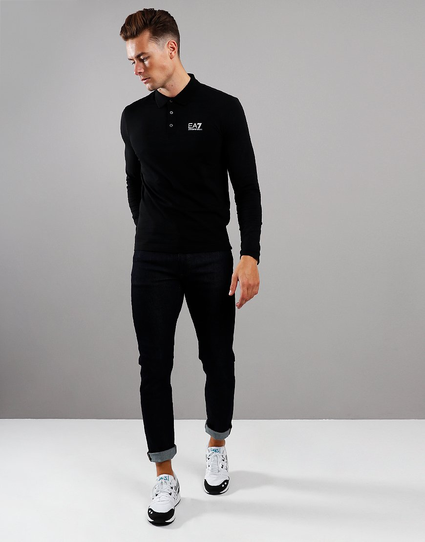 EA7 Long Sleeve Polo Shirt Black