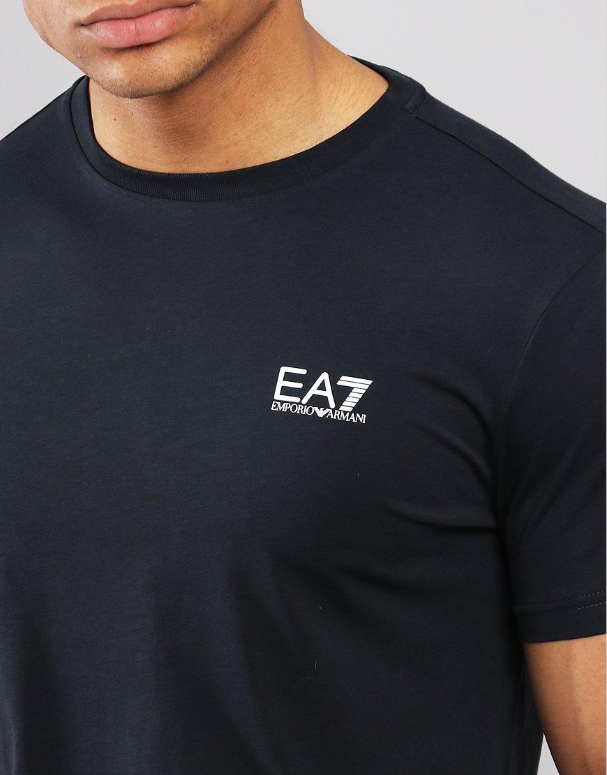 47f59f23 EA7 Plain Logo T-shirt Night Blue - Terraces Menswear