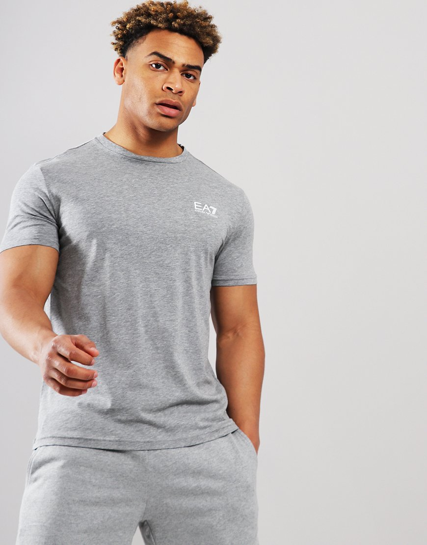 EA7 Plain Logo T-shirt Medium Grey Marl