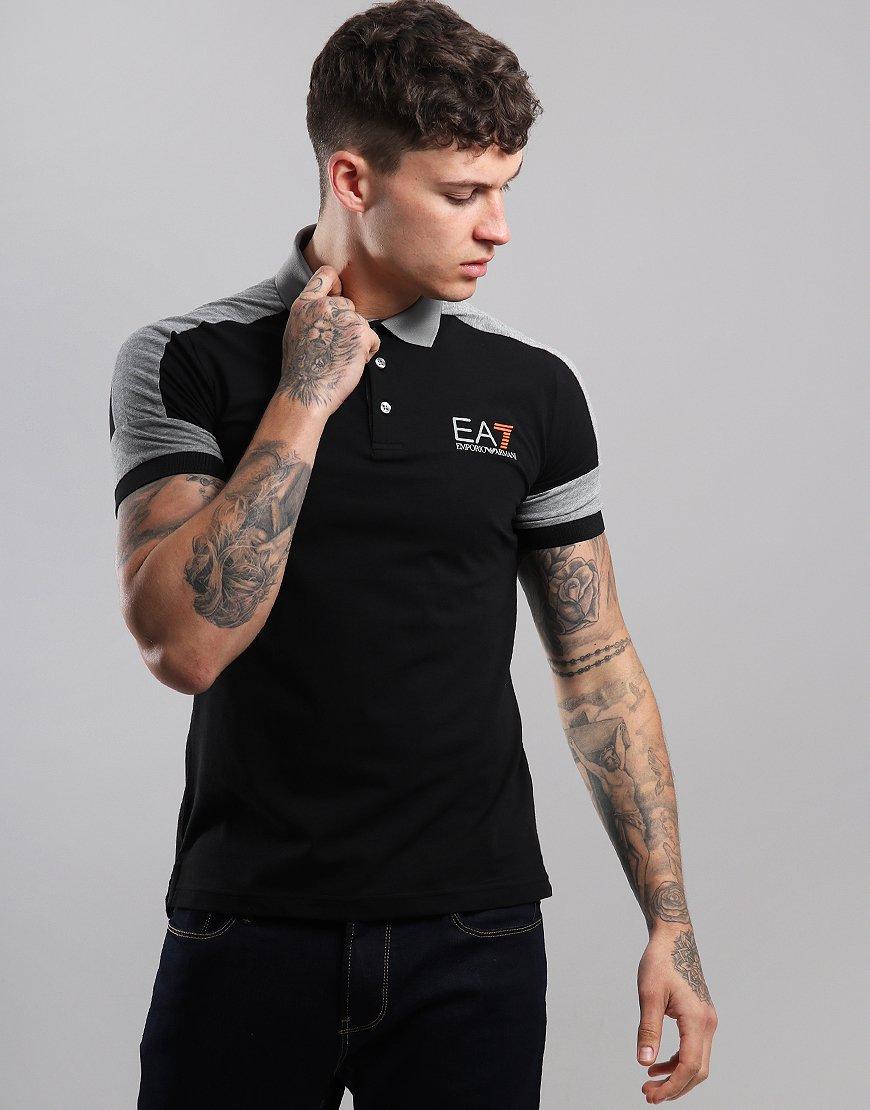 EA7 Taped Polo Shirt Black