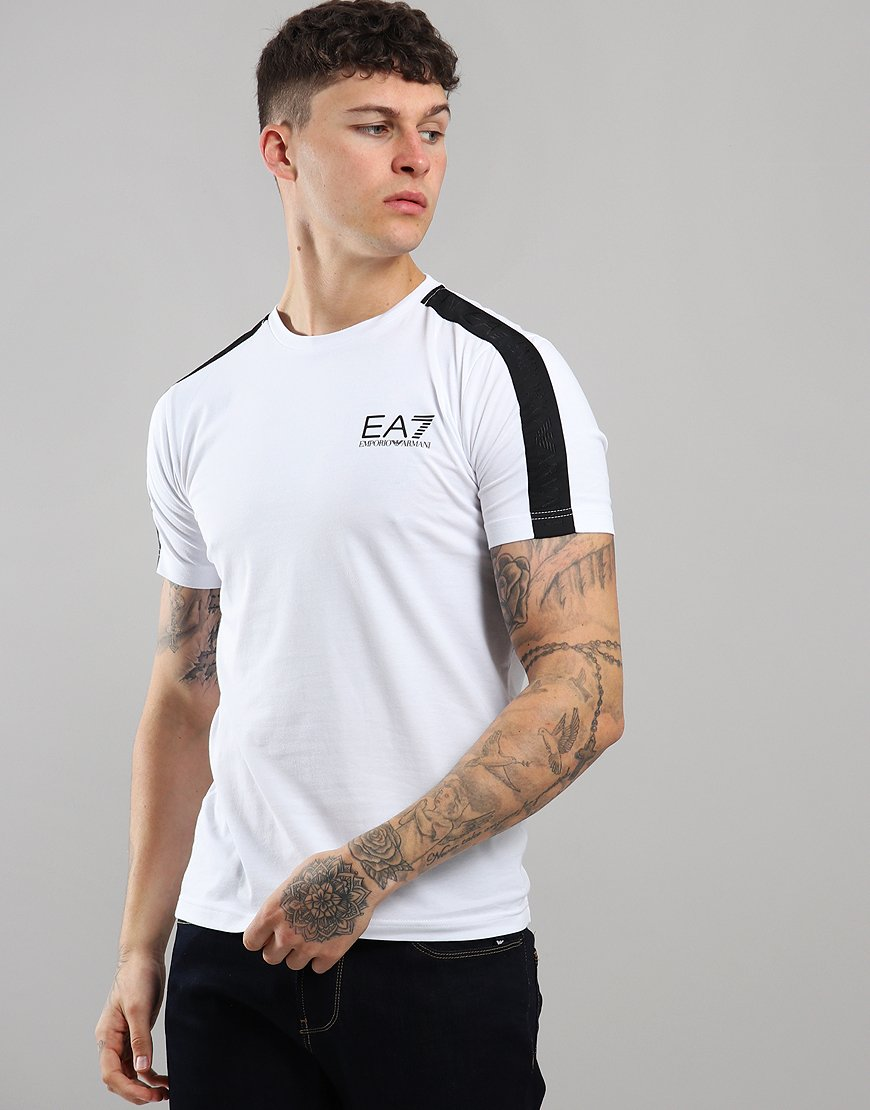 EA7 Taped Shoulder T-Shirt White