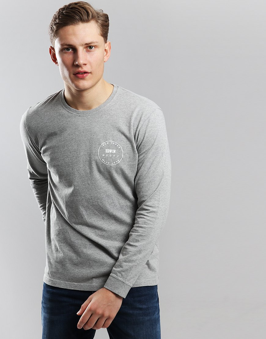 EDWIN Long Sleeve Trademark T-shirt Grey